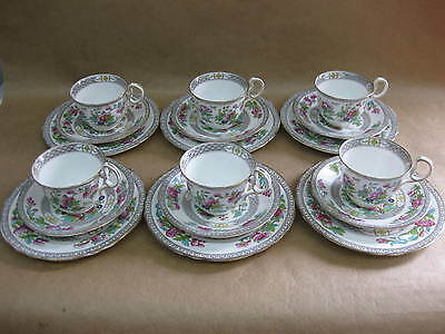 6 Aynsley Indian Tree Cups, Saucers & Plates ~ 6 x Trios ~ A1173 ~ English China