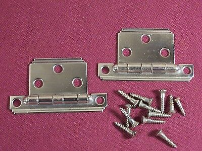 Pair of Vintage Chrome Flush Cabinet Hinges Deco Modern 30's 40's 50's
