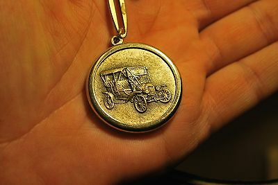 Vintage Ford Model T Touring Car Silver Tone Art Deco  Key Chain Medallion Fob
