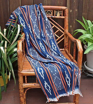 Authentic Baule Cloth, Striped Ikat, Throw, Vintage Indigo, African Textile