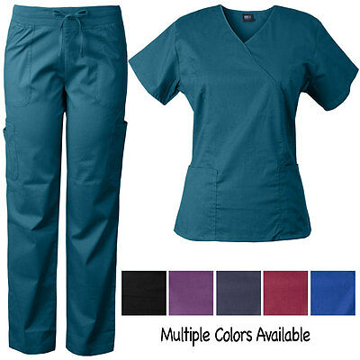 Medgear Women's Stretch Scrubs Set, Mock-wrap Top & Comfort Waist Pants 7894