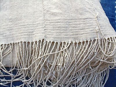 """Large """"White"""" African Mud Cloth Throw, Vintage, Hand knotted 4"""" Fringes"""