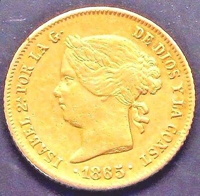 """1865 PHILIPPINES 4 PESOS Gold Coin.  """"XF"""" -  KM#: 144"""