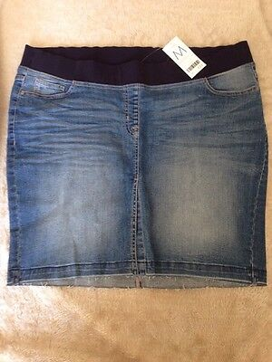Next Maternity Denim Skirt Size 18  front split Denim mini Skirt Maternity  18