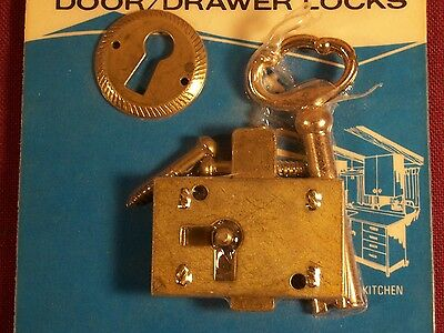 Antique Furniture Mortise Lock and Key Desk Dresser Drawer Cabinet Door Lock