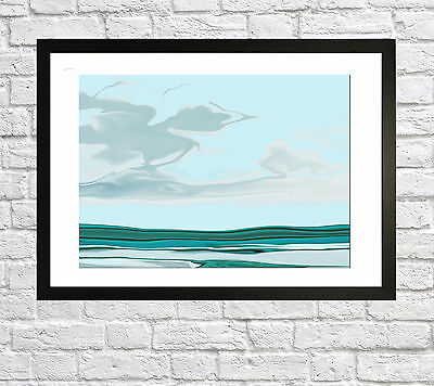 Large  Abstract Seascape Wall Art  Print Painting  A2  Framed Contemporary