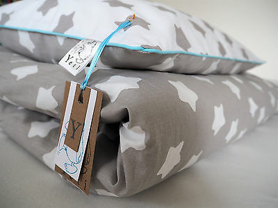 100% COTTON Cot bed duvet cover SET boys & girls 120cm x 150cmstar, blue piping