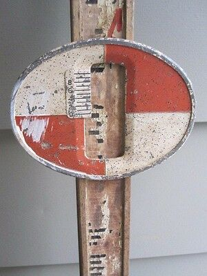 Antique Vintage Wood & Metal Surveyor Tool Leveling Measuring Rod w Target