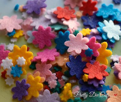 Mixed Size Mini Felt Flowers (36), die cut Floral Craft Embellishments