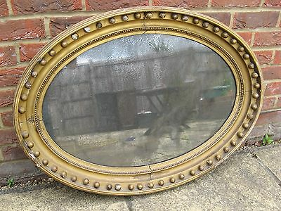 Stunning Large Regency Oval Mirror With Original Distressed Mercury Glass