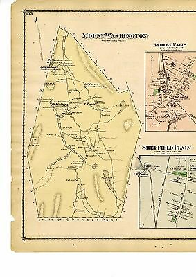 1876 Map of Mount Washington Mass. from Atlas of Berkshire County w/family names