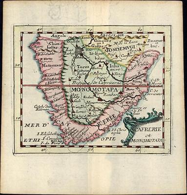 South Africa Cafrerie Angola Cape of Good Hope 1682 du Val old antique rare map