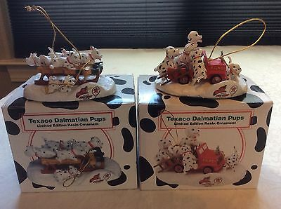Texaco Dalmatian Pups (2)- Limited Edition Resin Ornaments, Exc Condition, Boxed