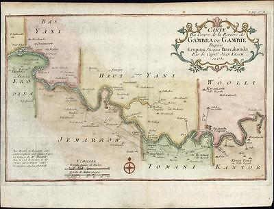 Gambia river West Africa Kings Town Yani Tomani Kantor 1747 old Bellin map