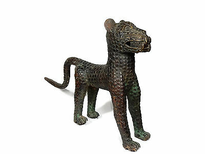 Mega Rare Large Antique African Cast Bronze Benin Leopard sculpture