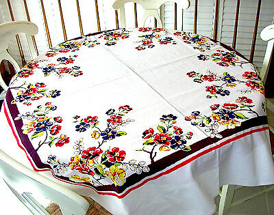 Factory Seconds Vintage Style Tablecloth - Blossoms Pattern - 100% cotton