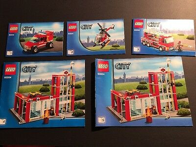 Lego City 60004 Fire Station Instructions Only Manuals Complete Set Of 5