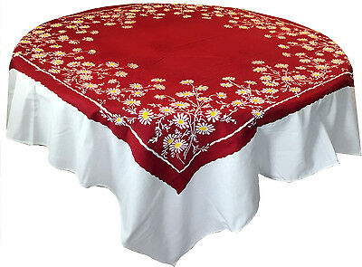 Factory Seconds Vintage Style Tablecloth - Red Daisy Pattern - 100% cotton