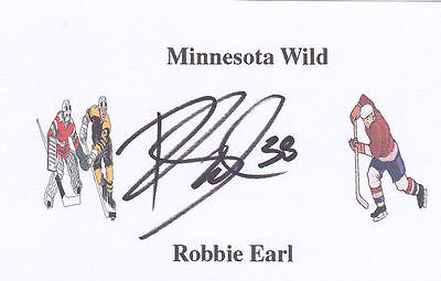 Robbie Earl (Ex-Minnesota Wild & Toronto Maple Leafs) signed card