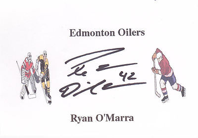 Ryan O'Marra (Ex-Edmonton Oilers & Anaheim Ducks) signed card