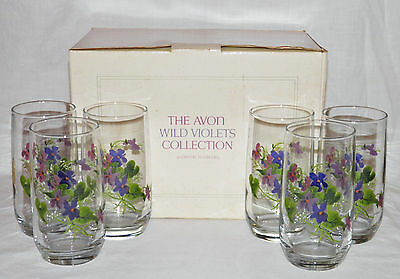 1981 WILD VIOLETS Set of 6 CRYSTAL TUMBLERS Glasses AVON Vintage NOS in BOX