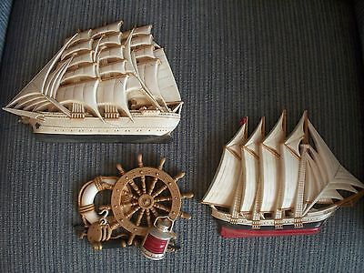 Vintage Home Interiors & Gifts Burwood 3 Nautical Ship Decor Wall Plaques