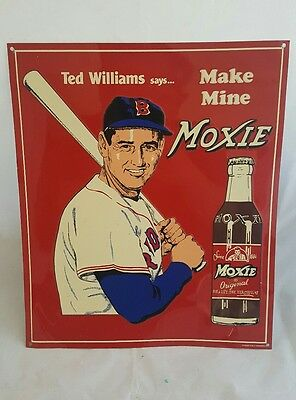 """""""MAKE MINE MOXIE"""" TED WILLIAMS MLB REPRODUCTION METAL SIGN 11"""" x 13"""""""
