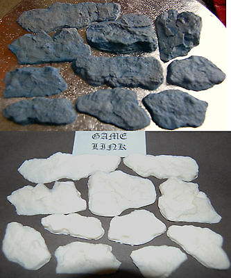 11 x DETAILED ROCK PLASTIC  FEATURES FOR WARHAMMER & MODEL TRAIN SCENERY