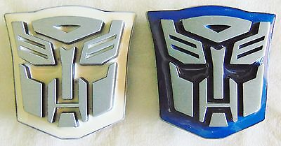 Two C.2009 GENUINE Transformers Metal Autobots 3D Belt Buckle's, Two Colors, NEW