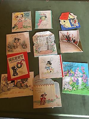 Vintage Lot Of Greeting Card Happy Birthday Christmas Dogs Canines