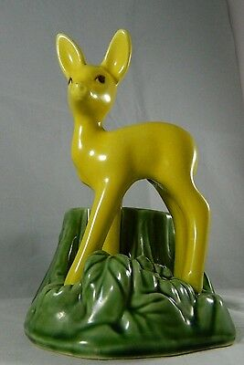 VTG Shawnee Art Pottery Standing Deer Fawn Tree Stump Ceramic Planter 624 USA