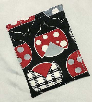Paperback Book Pouch Cover Sleeve Holder - Black & Red Ladybugs Lady Birds