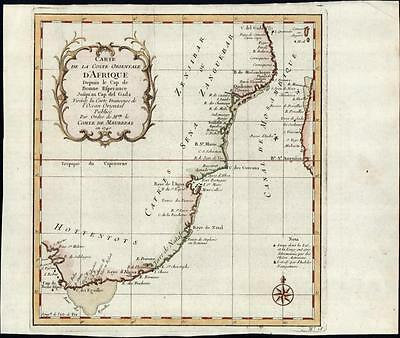 "South Africa coast ""Hottentots"" Cafres Natal c.1746 old antique Bellin map"