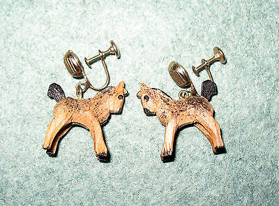 Vintage Hand Carved Wooden Pony Horse Colt Screw on Earrings, Signed