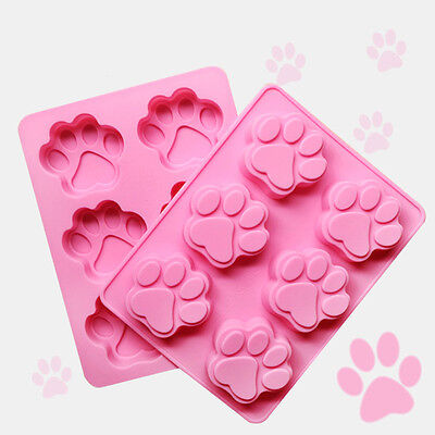 Silicone Dog Pet Animal Paw Print Ice Cube Chocolate Soap Candle Tray Mold