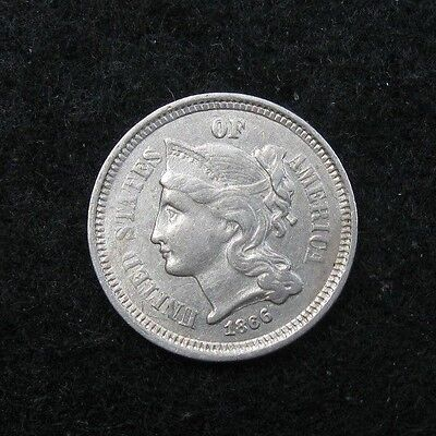 1866 - THREE CENT Nickel  -  Higher Grade  -  Strong XF+++/AU
