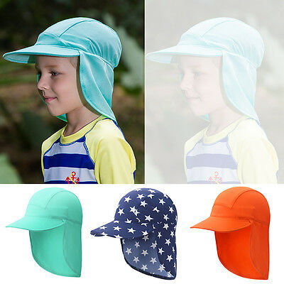 BABY Kids Summer CAP HAT UV Sun Protection Beach Sunscreen Head & Neck