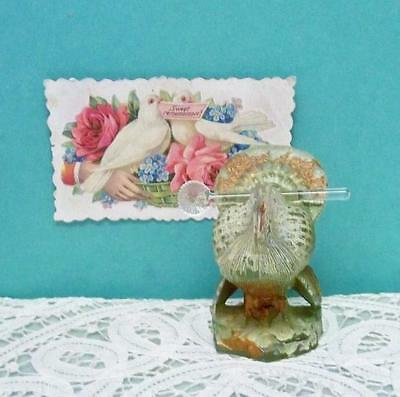 "Vintage Glass Turkey Salt Spoon ~ Place Card Holder Figurine ~ 2 3/4"" Bird  Rare"