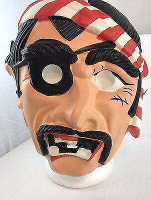 Halloween mask Pirate 1960s Hard Plastic Form Adult Size