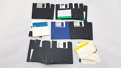 "Lot of 15 3.5"" Floppy Disks + Labels Diskette Sony Imation Quill 1.44MB 2HD 720"