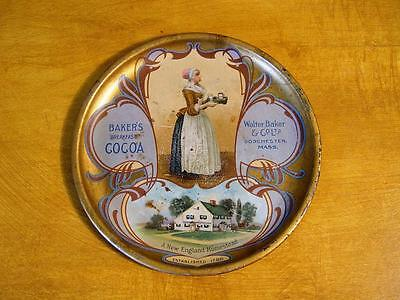 "Antique Baker's Cocoa Advertising Tip Tray 6"" Dorchester, Mass."