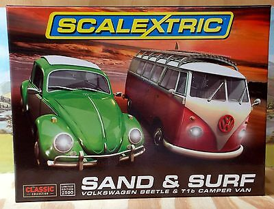 """Scalextric 1/32 C3371A  """"sand & Surf"""" Volkswagen Two Car Pack, Ltd. Ed., Nib"""
