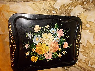 """Vintage Toleware Hand Painted Tole Metal Tray Large 20x16"""" FLORAL Design"""