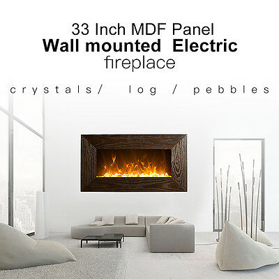"""1500W 36"""" Wooden Frame(MDF) Wall Mounted Electric Fireplace, Heater, Fire, Flame"""