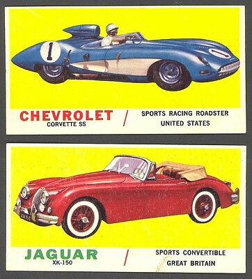 1961 Topps Sports Cars Sport Car: Both Checklists (unmarked), White Back; EX+/-
