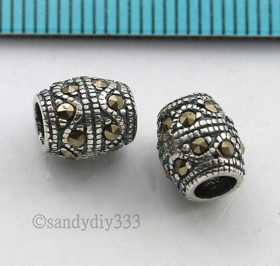2x ANTIQUE STERLING SILVER MARCASITE STONE BARREL TUBE SPACER BEAD 7.9mm #2776