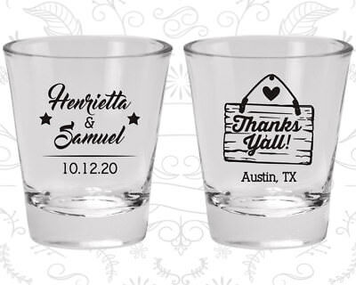 Wedding Shot Glasses.Wedding Shot Glasses Personalized Shot Glass 485 Thanks Yall Wedding Favors