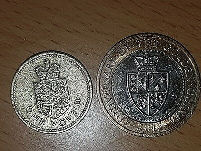 set of guinea £1 and £2 commemorative coins