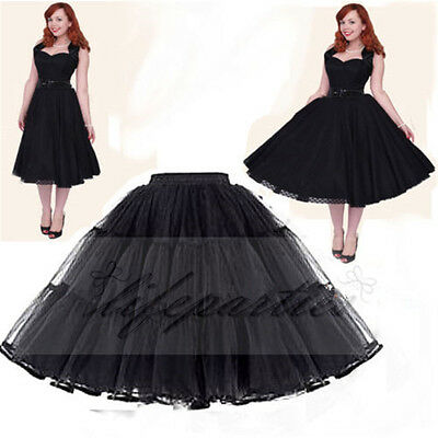 Lady Retro Underskirt 50s Swing Vintage Petticoat Tutu Skirt White Black 22""