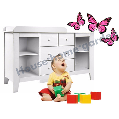Baby Change Table NEW Dresser Nursery Chest Cabinet 4 Drawers Shelves White